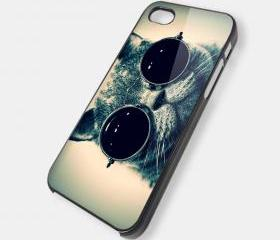 Smart Cat Eyes Glasses iPhone case OCM - iPhone 4 Case, iPhone 4s Case and iPhone 5 case Hard Plastic Case